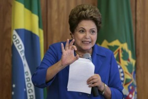 Brazil's President Dilma Rousseff reacts during a meeting with leaders of the Social Democratic Party (PSD) at the Planalto Palace in Brasilia