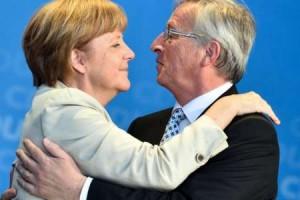 forex trading- merkel juncker hug