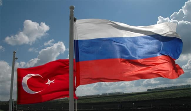 Russian and Turkish Flag in front of a Blue Sky | Forex World - Choose-Forex