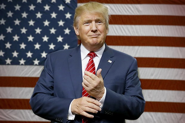 Donald Trump Smiling in Front of USA Flag